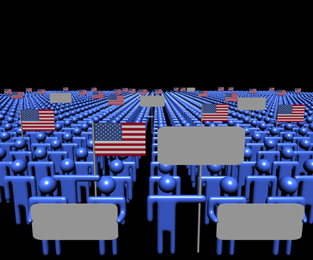 multitude: Crowd of people with signs and American flags illustration