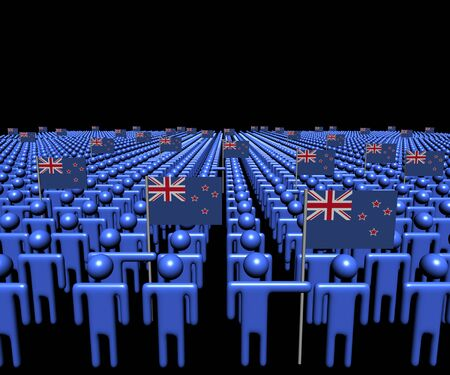 multitude: Crowd of abstract people with many New Zealand flags illustration
