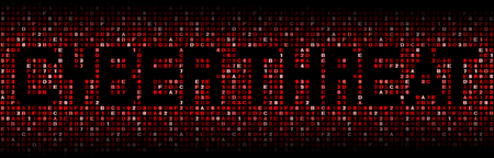 threat: Cyber threat text on hex code illustration Stock Photo