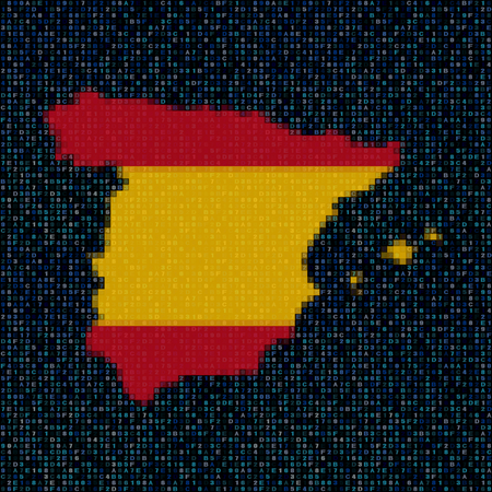 hex: Spain map flag on hex code illustration