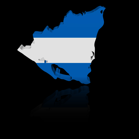 in reflection: Nicaragua map flag with reflection illustration Stock Photo