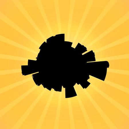skyline of denver: Circular Denver skyline on sunburst illustration Stock Photo