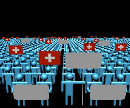 swiss: Crowd of people with signs and Swiss flags illustration