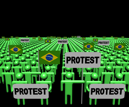 protest man: Crowd of people with protest signs and Brazil flags illustration