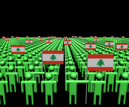 lebanese: Crowd of abstract people with many Lebanese flags illustration