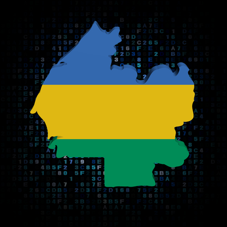 hex: Gabon map flag on hex code illustration Stock Photo