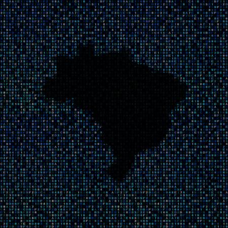hex: Brazil map on hex code illustration