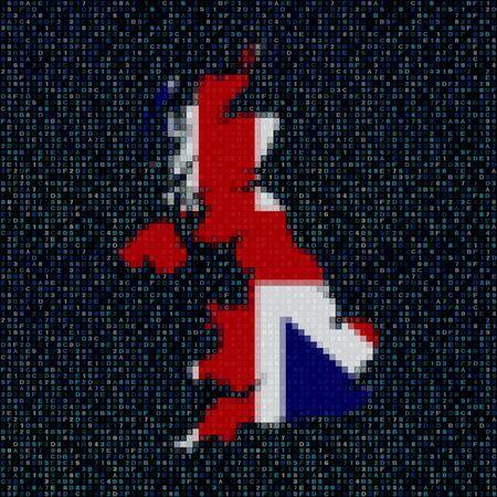 uk map: UK map flag on hex code illustration Stock Photo