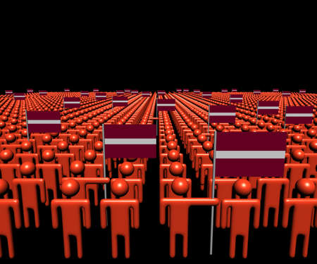 multitude: Crowd of abstract people with many Latvian flags illustration