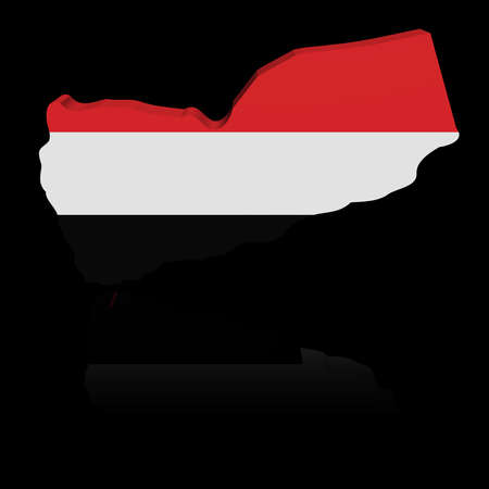 in reflection: Yemen map flag with reflection illustration