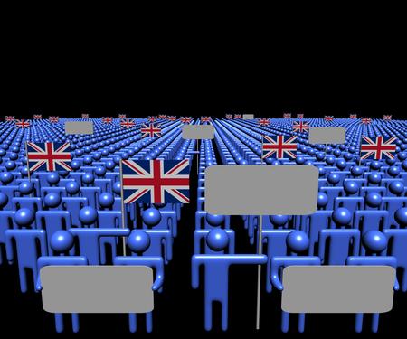 multitude: Crowd of people with signs and British flags illustration
