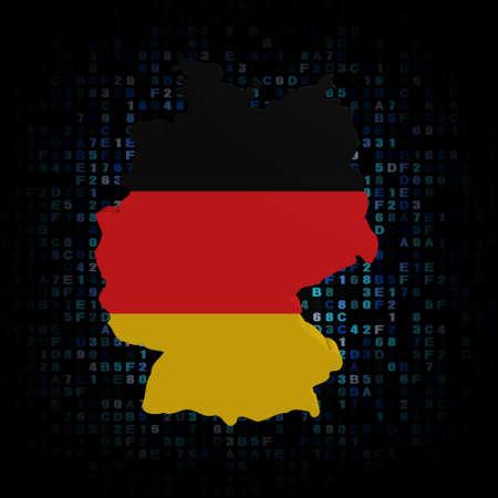 deutschland karte: Deutschland Karte Flagge auf Hex-Code Darstellung Lizenzfreie Bilder