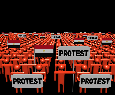demonstrate: Crowd of people with protest signs and Egyptian flags illustration