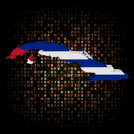 hex: Cuba map flag on hex code illustration Stock Photo