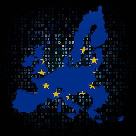 eu: EU map flag on hex code illustration