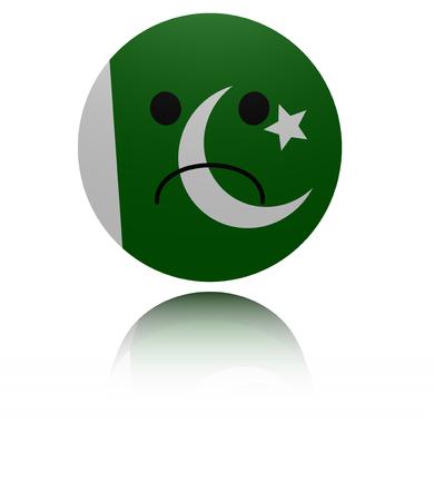 mournful: Pakistan sad icon with reflection illustration