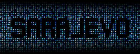 hex: Sarajevo text on hex code illustration Stock Photo
