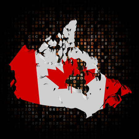 hex: Canada map flag on hex code illustration Stock Photo