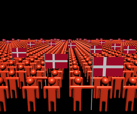 multitude: Crowd of abstract people with many Denmark flags illustration Stock Photo