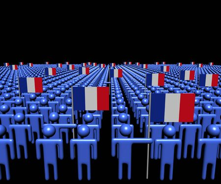 multitude: Crowd of abstract people with many French flags illustration Stock Photo