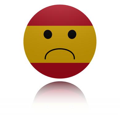 reflection: Spain sad icon with reflection illustration Stock Photo