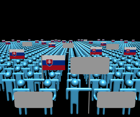multitude: Crowd of people with signs and Slovakia flags illustration Stock Photo
