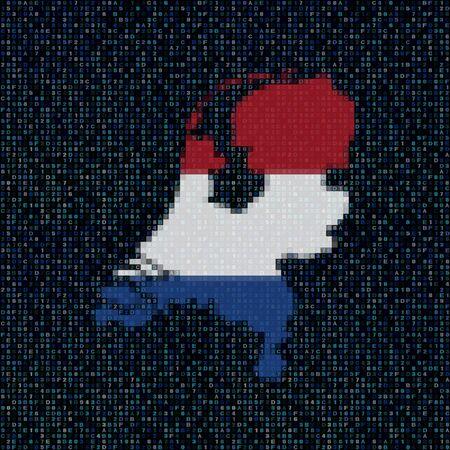 netherlands map: Netherlands map flag on hex code illustration