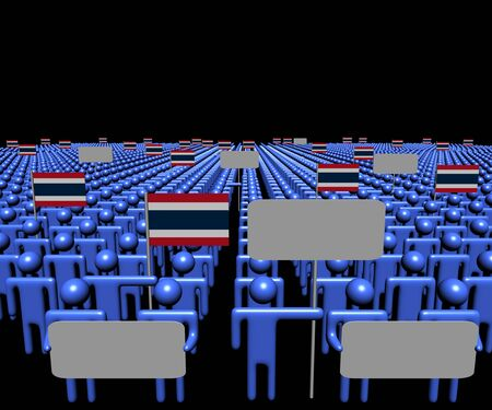 multitude: Crowd of people with signs and Thai flags illustration