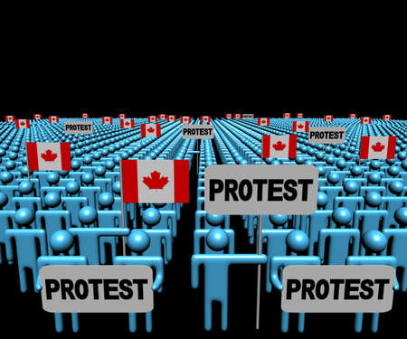 demonstrate: Crowd of people with protest signs and Canadian flags illustration