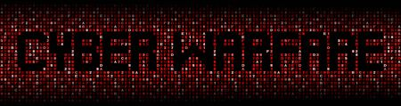 malicious software: Cyber warfare text on hex code illustration