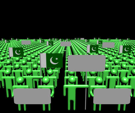 pakistani: Crowd of people with signs and Pakistani flags illustration Stock Photo