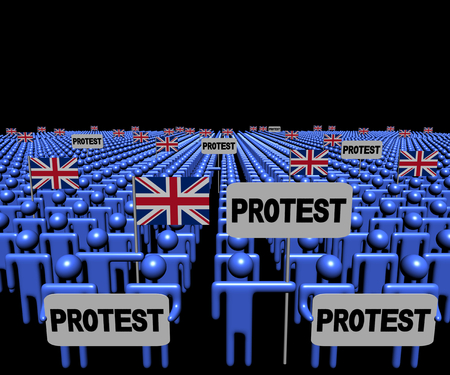 protest: Crowd of people with protest signs and British flags illustration