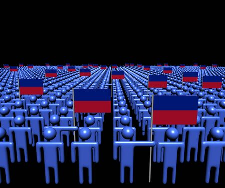 haiti: Crowd of abstract people with many Haiti flags illustration