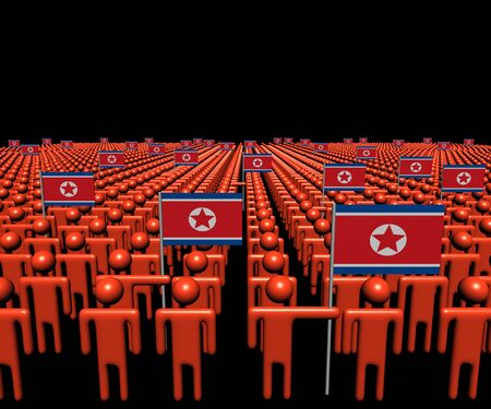 multitude: Crowd of abstract people with many North Korea flags illustration