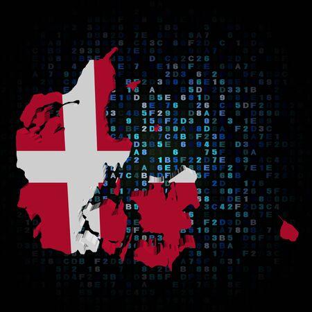 hex: Denmark map flag on hex code illustration Stock Photo