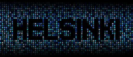 hex: Helsinki text on hex code illustration
