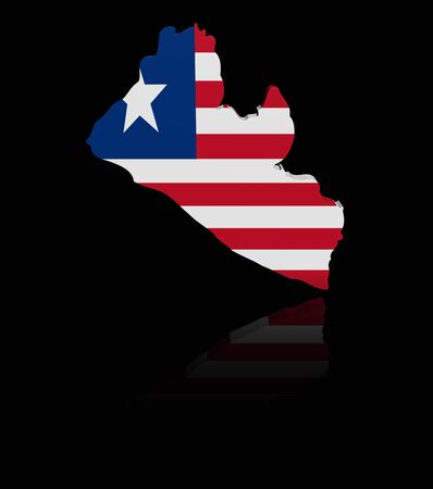 in reflection: Liberia map flag with reflection illustration