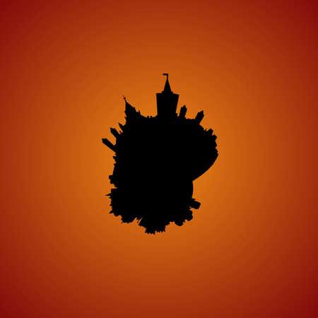 ottawa: Ottawa circular skyline sunset illustration