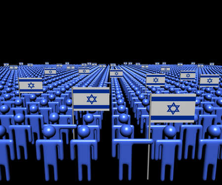 israeli: Crowd of abstract people with many Israeli flags illustration
