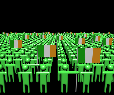 multitude: Crowd of abstract people with many Irish flags illustration