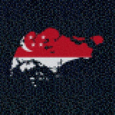 hex: Singapore map flag on hex code illustration Stock Photo