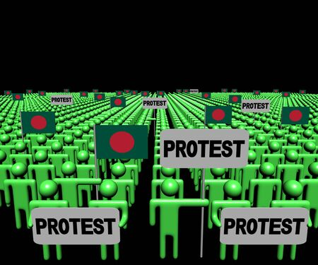 protest: Crowd of people with protest signs and Bangladesh flags illustration