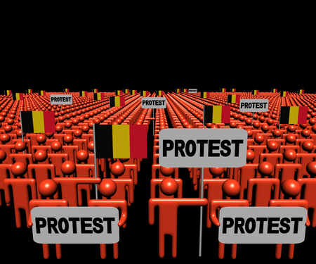 multitude: Crowd of people with protest signs and Belgian flags illustration