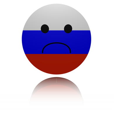 sorrowful: Russia sad icon with reflection illustration Stock Photo