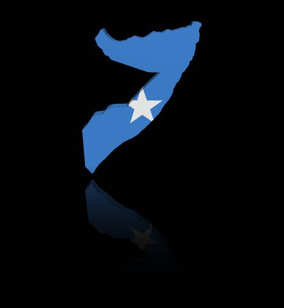 in reflection: Somalia map flag with reflection illustration