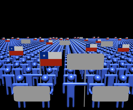 multitude: Crowd of people with signs and Chilean flags illustration