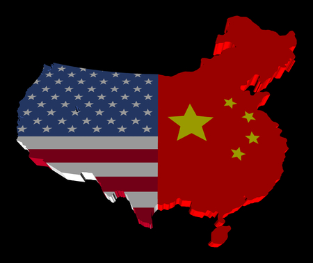 merged: USA china merged map flag illustration