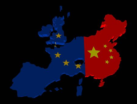 merged: EU china merged map flag illustration