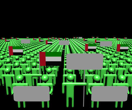 multitude: Crowd of people with signs and UAE flags illustration
