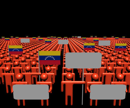 venezuelan: Crowd of people with signs and Venezuelan flags illustration